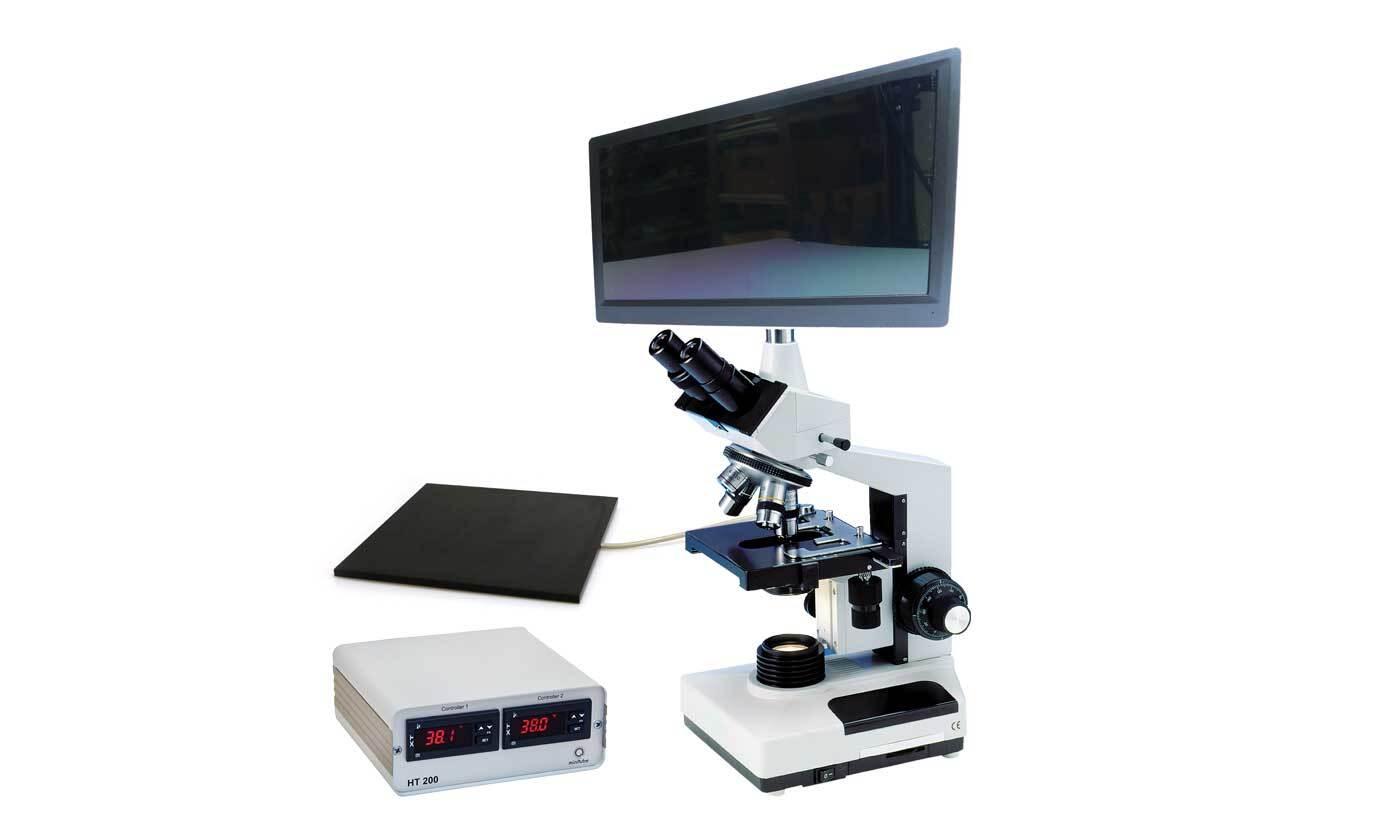 Фазово-контрастный микроскоп MBL 2100, с камерой и монитором, нагревательный столик, НТ 200