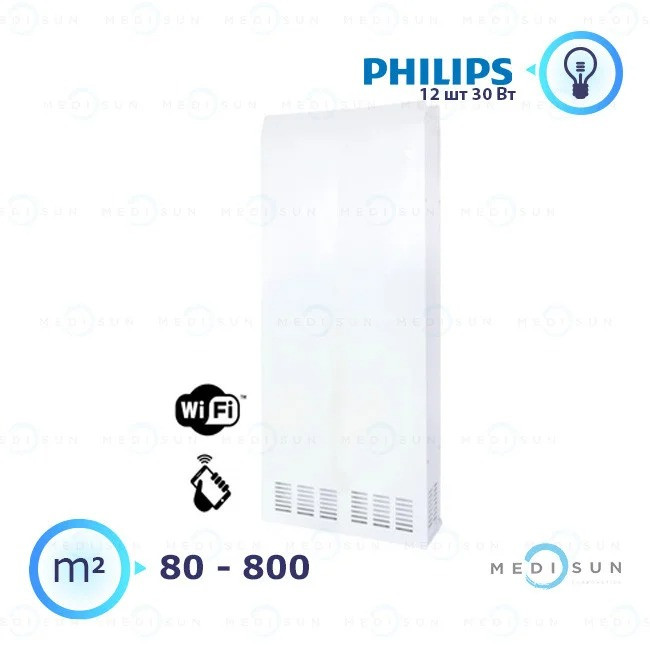 Рециркулятор воздуха бактерицидный настенный медицинский АЭРЭКС-ПРОФЕШИН 1200 с WiFi Завет, лампа Philips